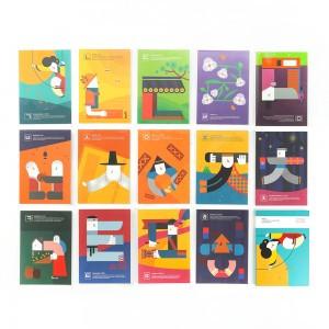 韩文插图的明信片每人