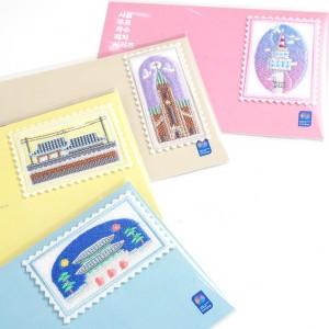 首尔邮票刺绣补丁四种