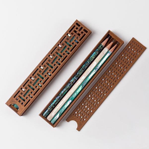 Hanok炉排花纹珍珠母铅笔套装